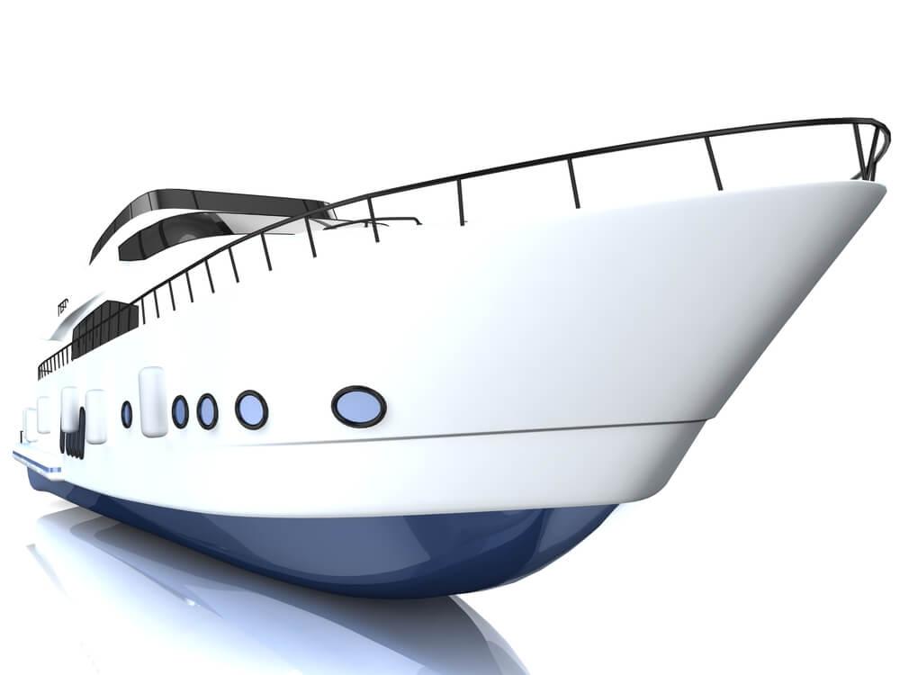 3d white speedboat
