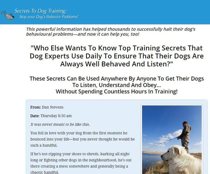 The secrets to dog training website