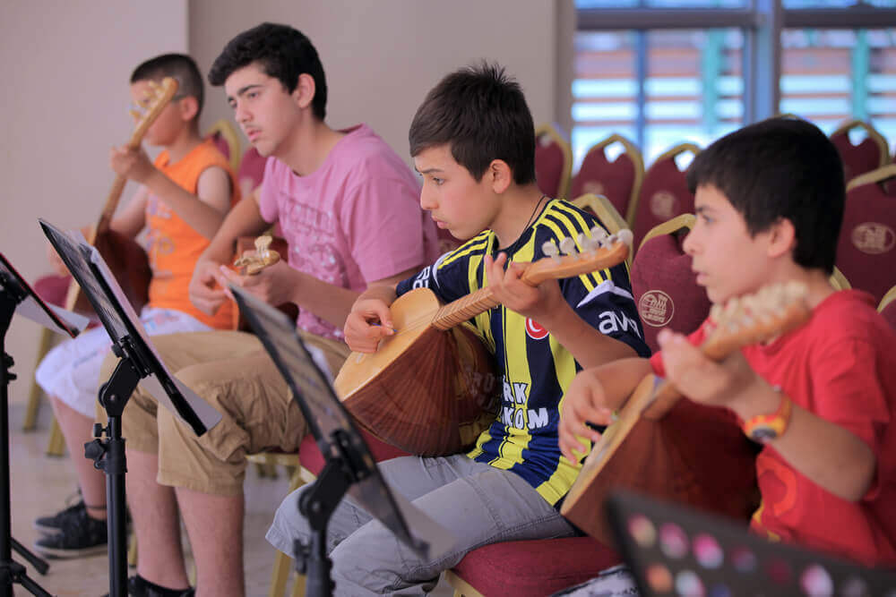 Children practicing music