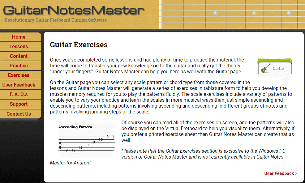 Guitar Notes Master Guitar exercise