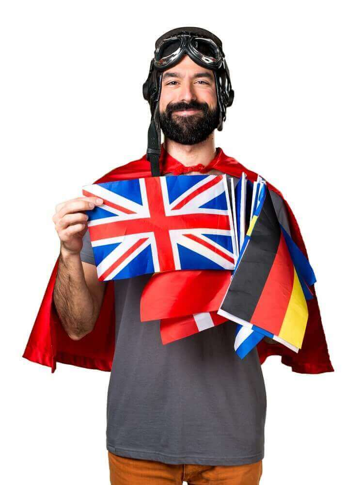 Happy superhero with a lot of flags