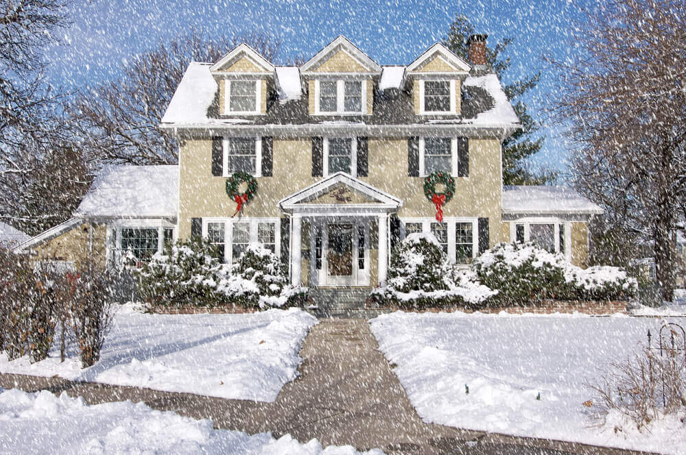 Home Facade with Giant Christmas Wreaths