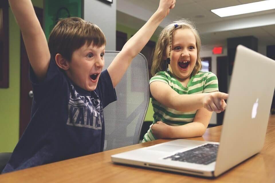 Kids playing video game