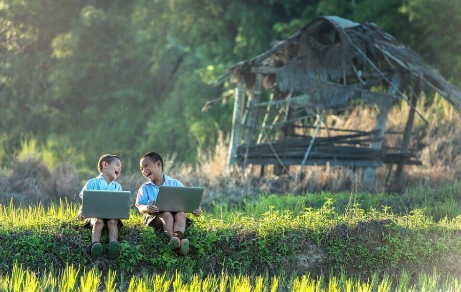 Kids using laptop at the farm