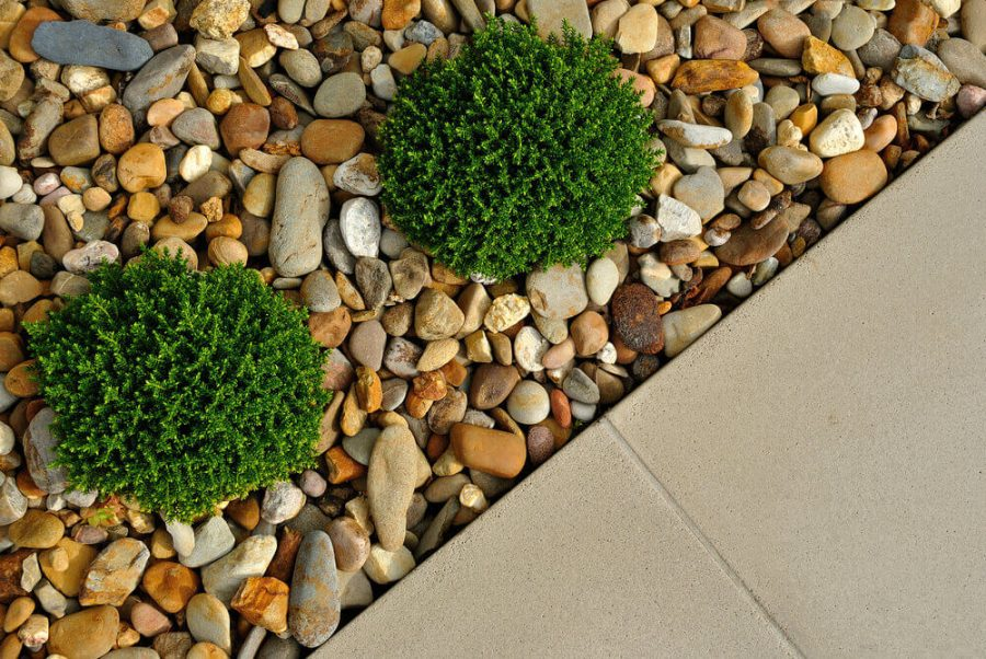 Landscaping combinations of plants, pebbles and paving