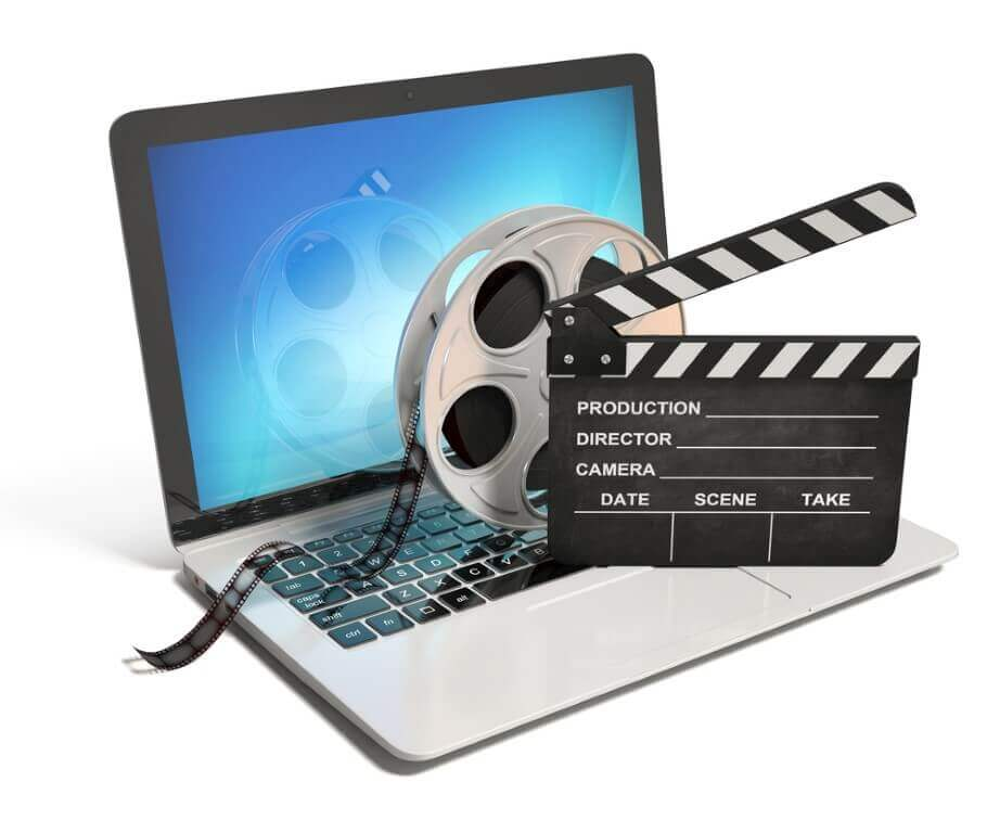 Laptop with films reel and movie clapper