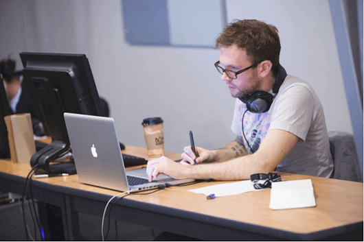 Man-Computer-Headphones