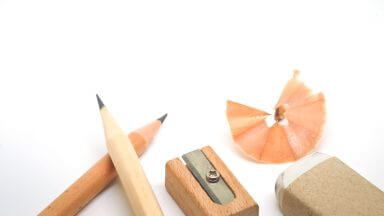 Pencil, Scrap Eraser and Sharpener made of wood