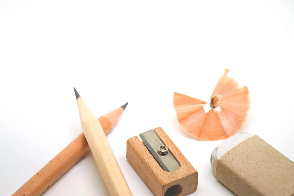 Pencil, Scrap Eraser and Sharpener made of wood