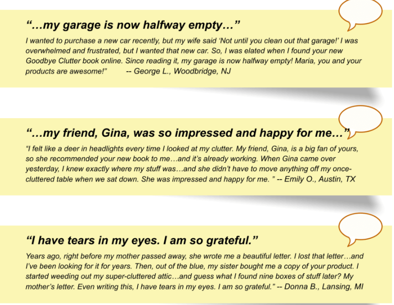 Readers review for GoodBye Clutter