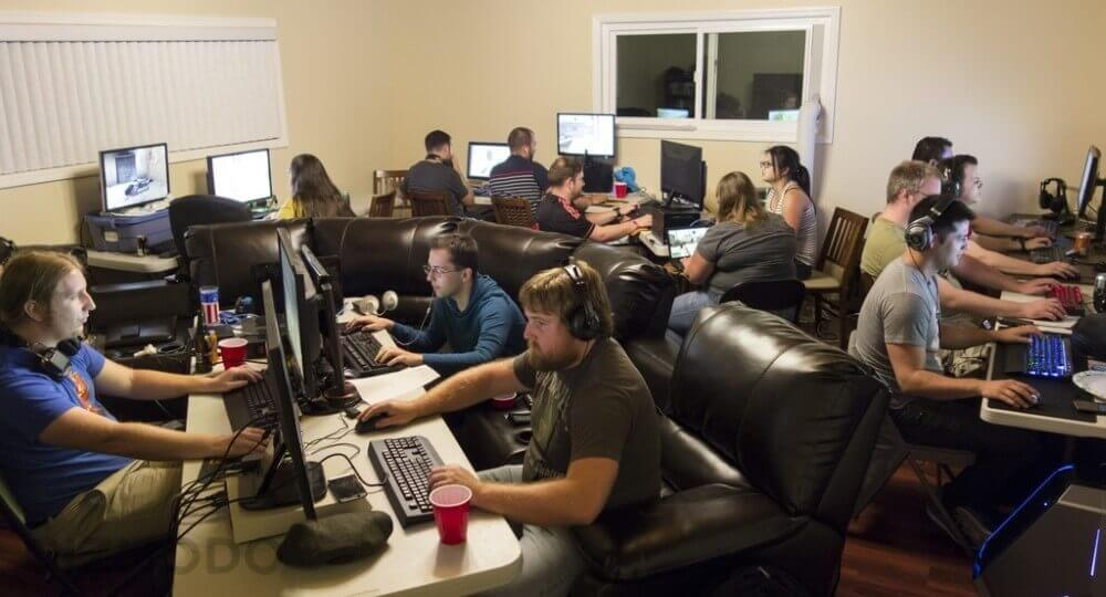 Room full of gamers