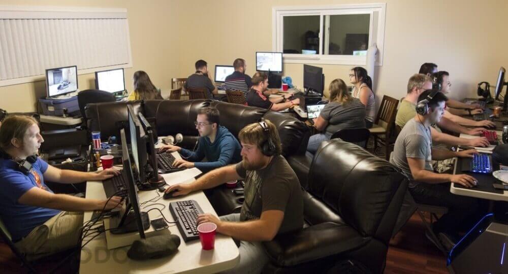 Room full of gamers
