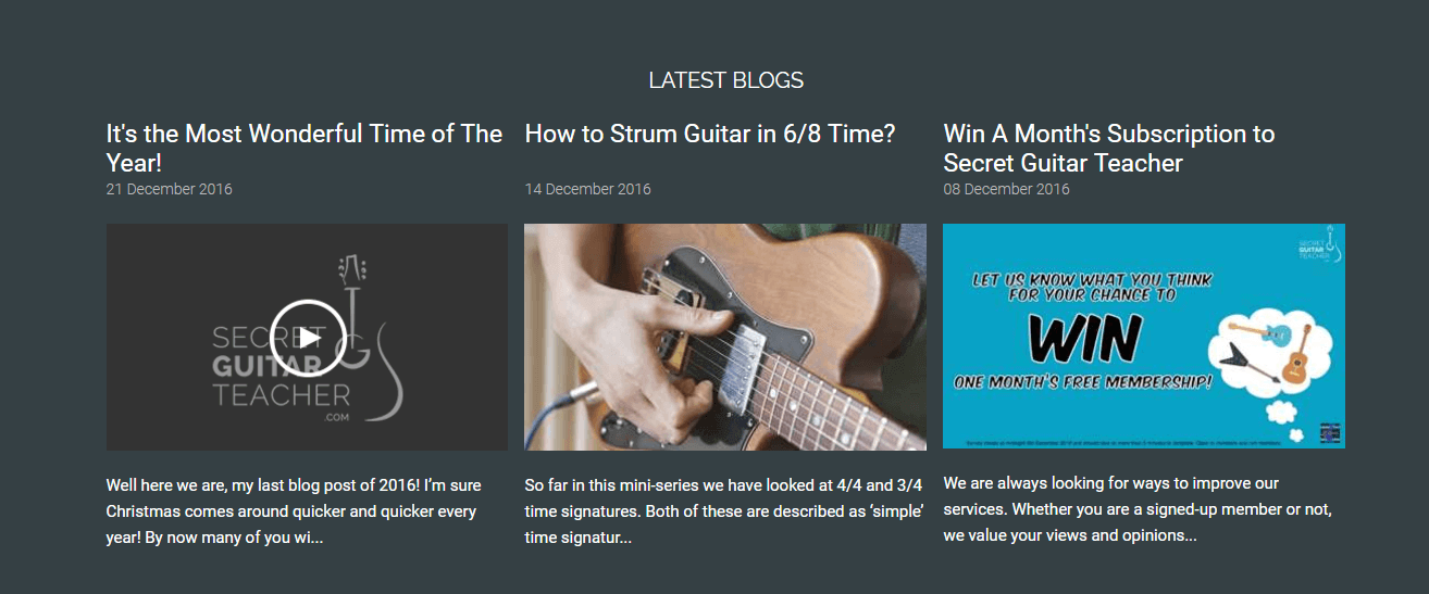 Secret Guitar Teacher blog about related lessons