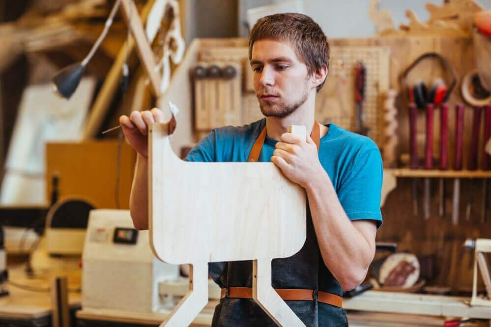 Self-employed cabinetmaker processing