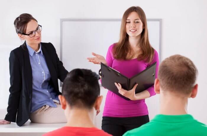Student giving speech