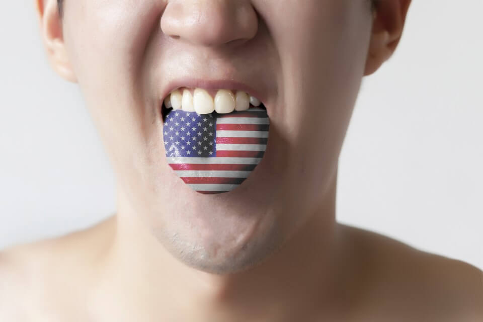 United States flag painted in tongue