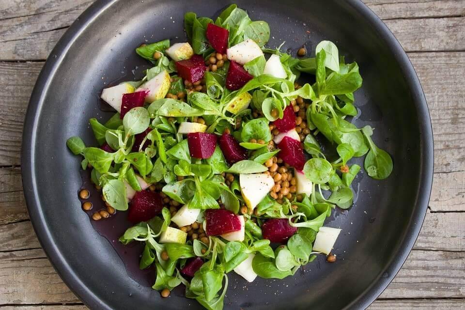 Lenses Pear Beets Vegan Colorful Salad Vegetarian