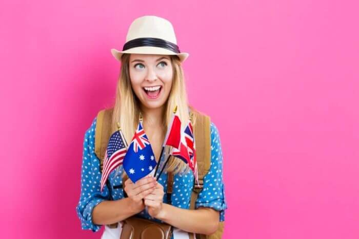 Young woman with flags of English