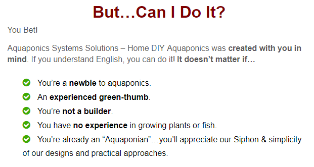 A screenshot from the website, assuring that you do not need any prior experience about aquaponics to be able to build an aquaponics system for yourself.