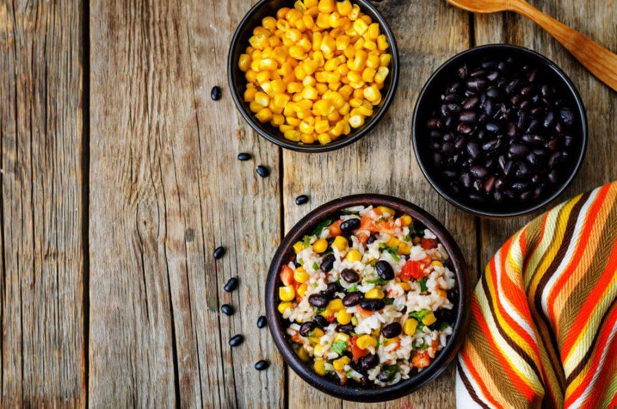 black beans corn rice