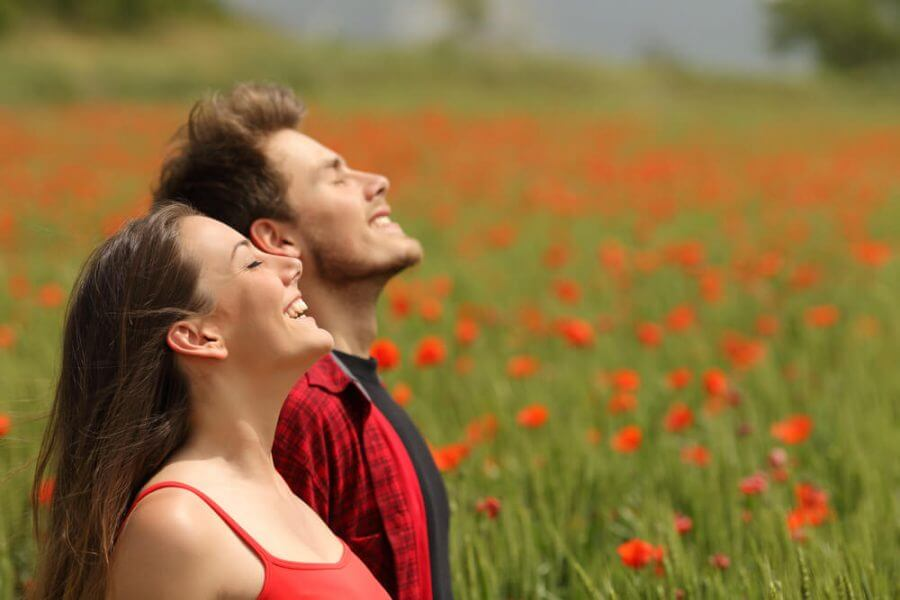 couple breathing fresh air