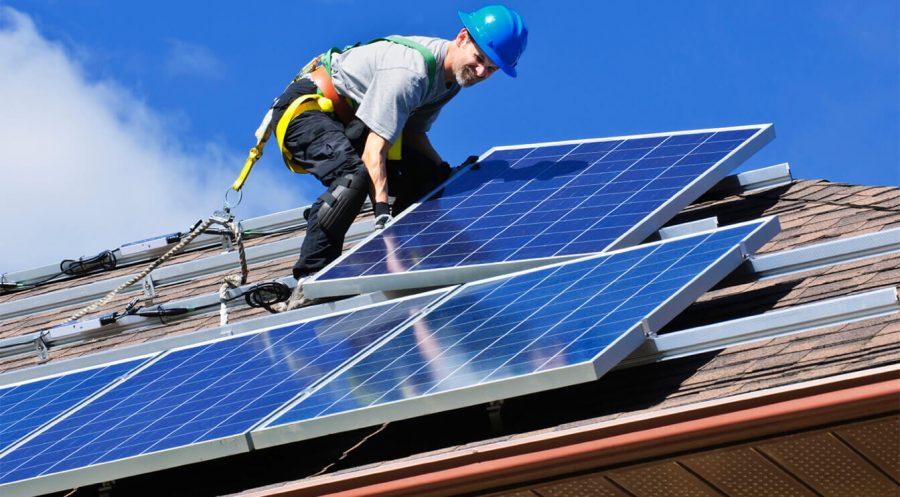 engineer placing a solar power