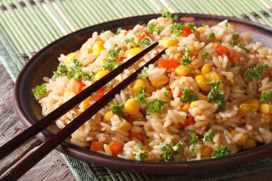 Chinese fried rice with eggs, corn and spices