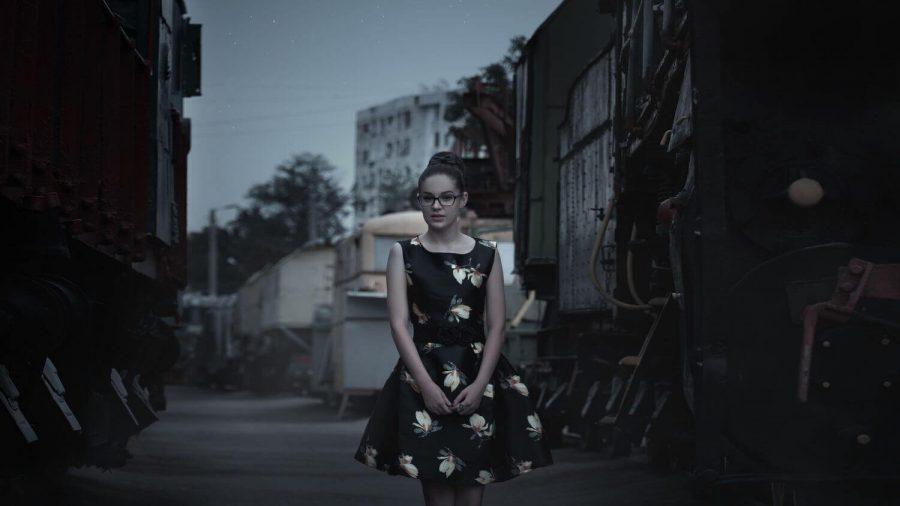 girl near train