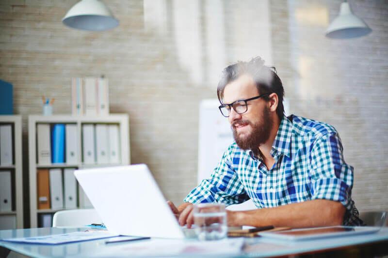 A man blogging