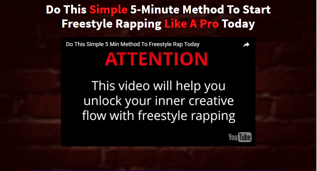 Video describing a 5-minute method to start freestyle rapping