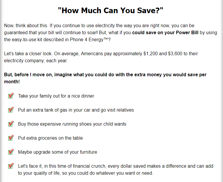 A screenshot from the product website which gives you an idea of the amount of money you can save through this product.