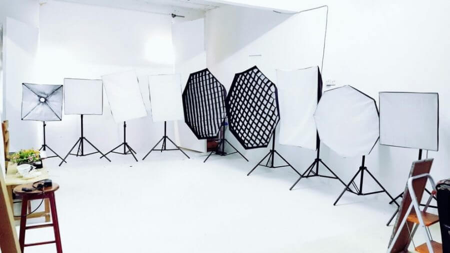 white studio and the equipment