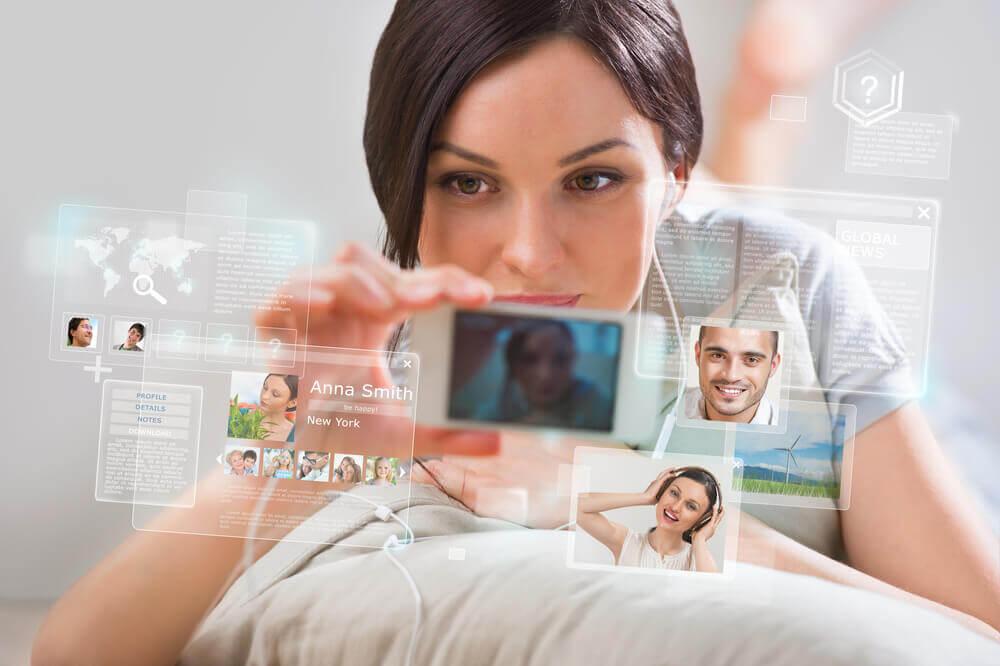 woman using social media
